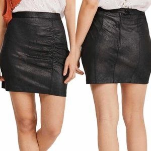 Free People Rumi Ruched Faux Leather Black Skirt